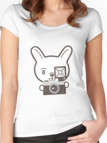 Cute Photographer Rabbit Women's Fitted Scoop T-Shirt