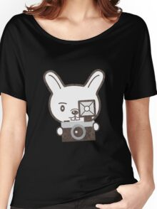 Cute Photographer Rabbit Women's Relaxed Fit T-Shirt