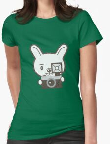 Cute Photographer Rabbit Womens Fitted T-Shirt