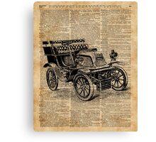Classic Old Car,Vintage Vehicle,Antique Machine Dictionary Art Canvas Print