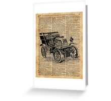 Classic Old Car,Vintage Vehicle,Antique Machine Dictionary Art Greeting Card