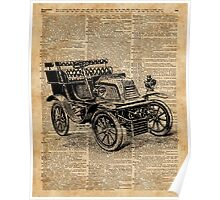 Classic Old Car,Vintage Vehicle,Antique Machine Dictionary Art Poster