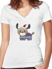 Woofy Holidays Women's Fitted V-Neck T-Shirt