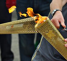 close up olympic torch by Mike Higgins