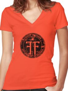 Fringe Division (dark print and stickers) Women's Fitted V-Neck T-Shirt
