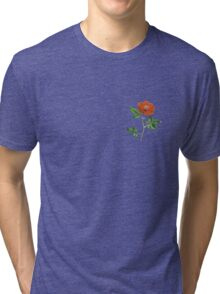 Vintage Red Rose Isolated on White Tri-blend T-Shirt