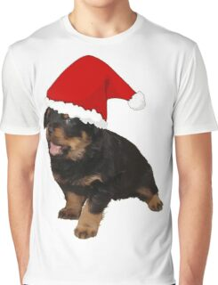 Cute Merry Christmas Puppy In Santa Hat Graphic T-Shirt
