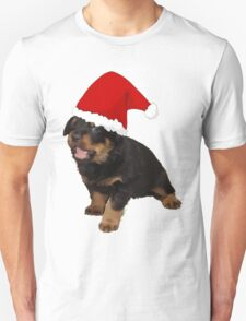 Cute Merry Christmas Puppy In Santa Hat T-Shirt
