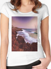 Colorful Coastal Waves Women's Fitted Scoop T-Shirt