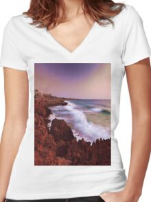 Colorful Coastal Waves Women's Fitted V-Neck T-Shirt