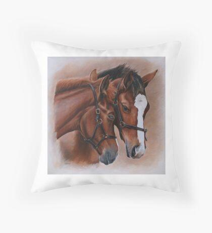 Foal embrace Throw Pillow