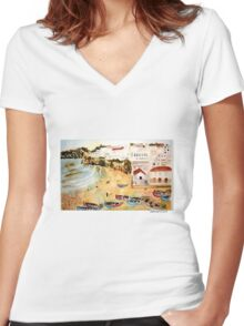 Portuguese town Women's Fitted V-Neck T-Shirt