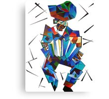Cubist Portrait of Accordian Player Isolated on White Canvas Print