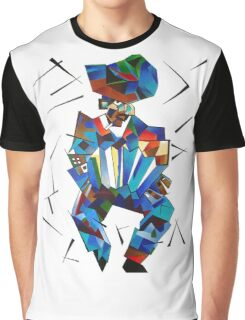 Cubist Portrait of Accordian Player Isolated on White Graphic T-Shirt