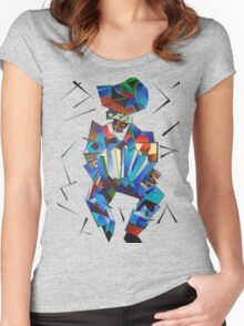 Cubist Portrait of Accordian Player Isolated on White Women's Fitted Scoop T-Shirt