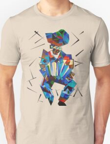 Cubist Portrait of Accordian Player Isolated on White Unisex T-Shirt