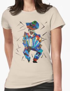 Cubist Portrait of Accordian Player Isolated on White T-Shirt