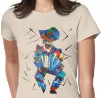 Cubist Portrait of Accordian Player Isolated on White Womens Fitted T-Shirt