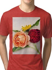 Sunflower and Roses Watercolor Tri-blend T-Shirt