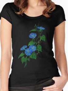 Blue Bindweed Isolated on White Women's Fitted Scoop T-Shirt