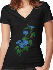 Blue Bindweed Isolated on White Women's Fitted V-Neck T-Shirt