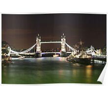 Tower Bridge and HMS Belfast at night Poster