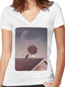 Twin Moon Women's Fitted V-Neck T-Shirt