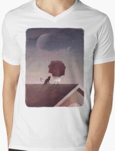 Twin Moon Mens V-Neck T-Shirt