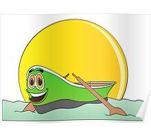 Green Row Boat Cartoon Poster