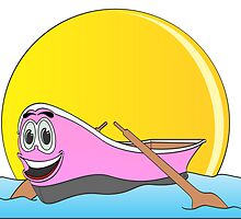 Pink Row Boat Cartoon by Graphxpro