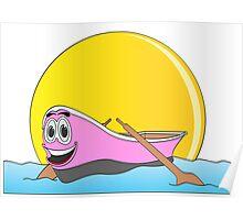Pink Row Boat Cartoon Poster