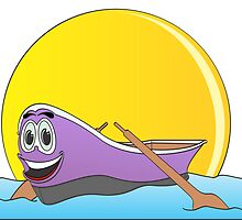 Purple Row Boat Cartoon by Graphxpro