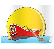 Red Row Boat Cartoon Poster