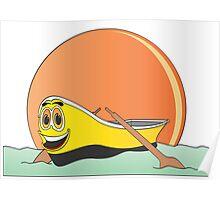 Yellow Row Boat Cartoon Poster
