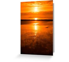 sunset and calm reflections at beal beach Greeting Card
