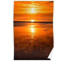 sunset and calm reflections at beal beach Poster