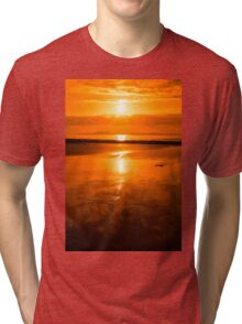 sunset and calm reflections at beal beach Tri-blend T-Shirt