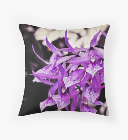 Violet Orchids Throw Pillow