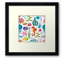 Colorful Marine Life And Animals Seamless Pattern Framed Print