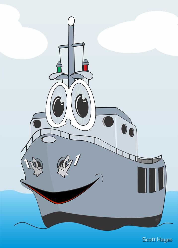 Navy Ship Cartoon by Graphxpro