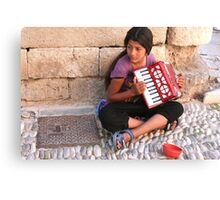 Grecian Street Musician Canvas Print