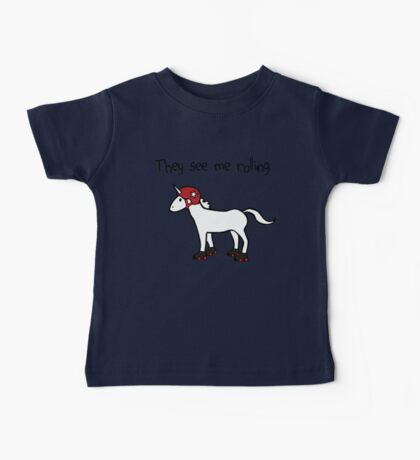 They See Me Rolling - Roller Derby Unicorn Baby Tee