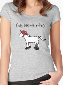 They See Me Rolling - Roller Derby Unicorn Women's Fitted Scoop T-Shirt