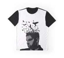 Man with Crows Flying from the hair Graphic T-Shirt