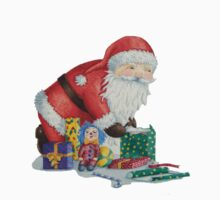 Cute santa and toys wrapping Christmas gifts Kids Tee