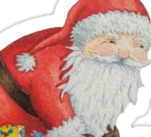 Cute santa and toys wrapping Christmas gifts Sticker