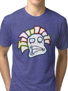Retro Tiki Mask Smirk Tri-blend T-Shirt