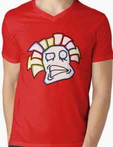 Retro Tiki Mask Smirk Mens V-Neck T-Shirt