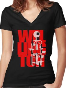 Wellington (Bucket Fountain) Women's Fitted V-Neck T-Shirt