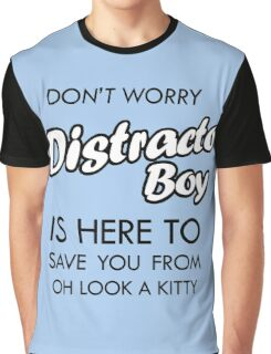 Distracto Boy Is Here! Oh Look A Kitty Graphic T-Shirt